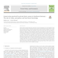 Another new paper: Conservation practiced by private forest owners